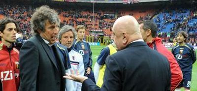 Milan boss Galliani tells Genoa-coach Malesani that the match is cancelled because of the dead of Livorno player Morosini